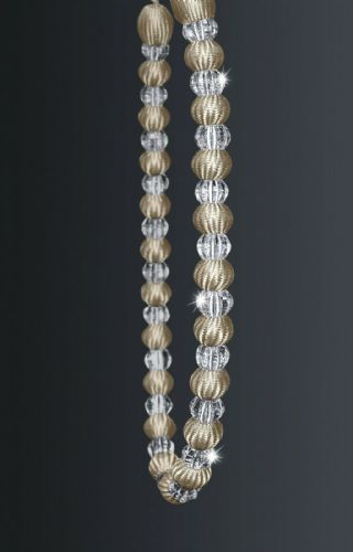 One Crystal Beaded Modern Curtain Rope Tie Back, Decorative Holdback, Latte